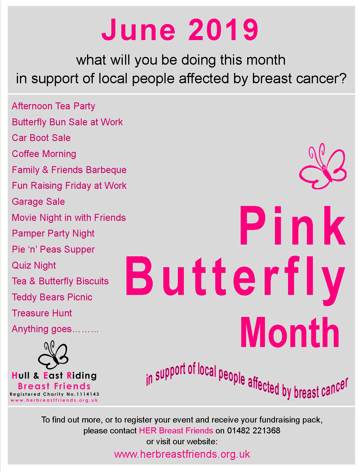 Pink Butterfly Month Grey Poster 2019 - HER Breast Friends